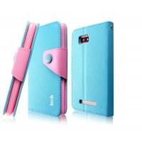 Чехол подставка подставка с застежкой для HTC Desire 400 Dual SIM Голубой