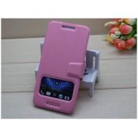 Чехол флип подставка с окном вызова и застежкой для HTC Desire 700 Розовый