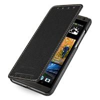 Кожаный чехол книжка горизонтальная (нат. кожа) для HTC Desire 700 Черный