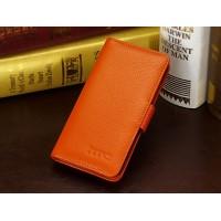 Кожаный чехол портмоне (нат. кожа) для HTC Desire 700 Оранжевый