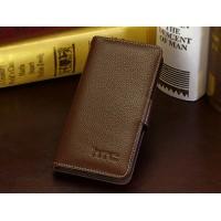 Кожаный чехол портмоне (нат. кожа) для HTC Desire 700 Коричневый