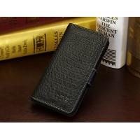 Кожаный чехол портмоне (нат. кожа крокодила) для HTC Desire 700 Черный