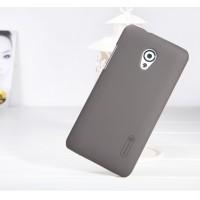 Пластиковый матовый премиум чехол для HTC Desire 700 Коричневый