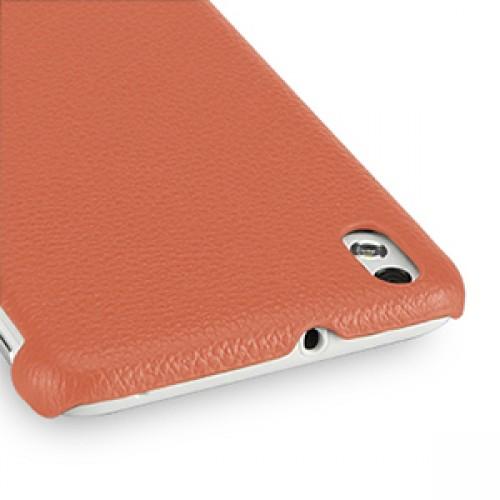 Кожаный чехол накладка серия Back Cover (нат. кожа) для HTC Desire 816 оранжевая
