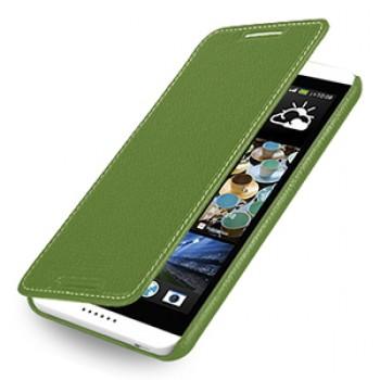 Кожаный чехол книжка горизонтальная (нат. кожа) для HTC Desire 816 зеленая