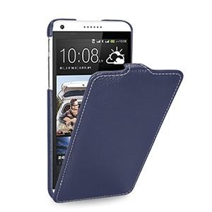 Кожаный чехол книжка вертикальная (нат. кожа) для HTC Desire 816 синяя