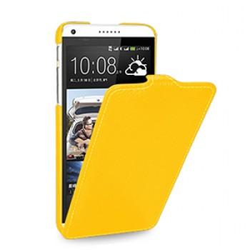 Кожаный чехол книжка вертикальная (нат. кожа) для HTC Desire 816 желтая