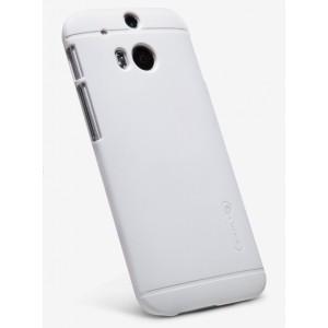 Пластиковый матовый чехол премиум для HTC One 2 Белый