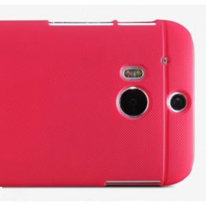 Пластиковый матовый чехол премиум для HTC One 2 Красный