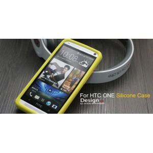 Силиконовый премиум софт-тач чехол для HTC One 2 Желтый