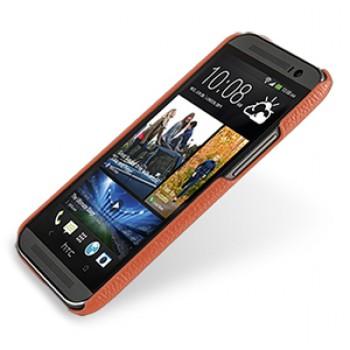 Кожаный чехол накладка серия Back Cover (нат. кожа) для HTC One 2 оранжевая