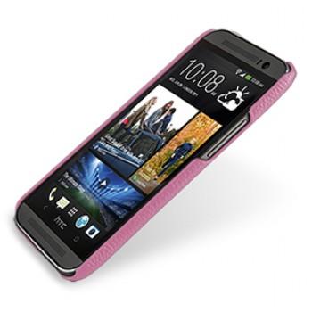 Кожаный чехол накладка серия Back Cover (нат. кожа) для HTC One 2 розовая