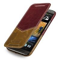 Эксклюзивный кожаный чехол ручной работы книжка горизонтальная (2 вида нат. кожи) серия V for Victory для HTC One 2 красный/коричневый