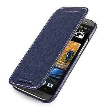 Кожаный чехол книжка горизонтальная (нат. кожа) для HTC One 2 синяя