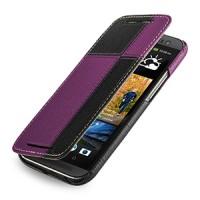Эксклюзивный кожаный чехол ручной работы книжка горизонтальная (2 вида нат. кожи) серия Quadro для HTC One 2 черный/фиолетовый