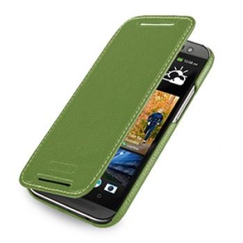 Кожаный чехол книжка горизонтальная (нат. кожа) для HTC One 2 зеленая