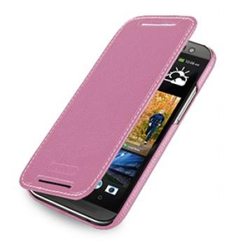 Кожаный чехол книжка горизонтальная (нат. кожа) для HTC One 2 розовая