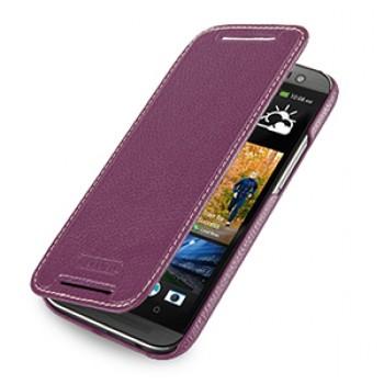 Кожаный чехол книжка горизонтальная (нат. кожа) для HTC One 2 фиолетовая