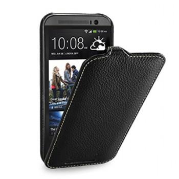 Кожаный чехол книжка вертикальная (нат. кожа) для HTC One 2 черная