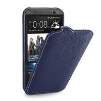 Кожаный чехол книжка вертикальная (нат. кожа) для HTC One 2 синяя