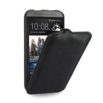 Эксклюзивный кожаный чехол книжка вертикальная (вощеная нат. кожа) для HTC One 2 черная