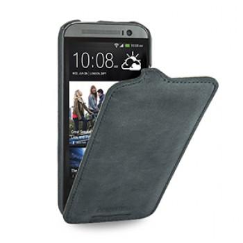 Эксклюзивный кожаный чехол книжка вертикальная (винтажная нат. кожа) для HTC One 2 синяя
