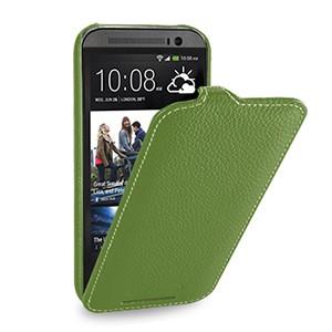 Кожаный чехол книжка вертикальная (нат. кожа) для HTC One 2 зеленая