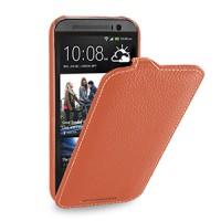 Кожаный чехол книжка вертикальная (нат. кожа) для HTC One 2 оранжевая