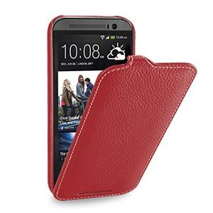 Кожаный чехол книжка вертикальная (нат. кожа) для HTC One 2 красная
