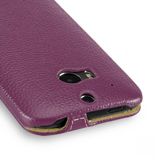 Кожаный чехол книжка вертикальная (нат. кожа) для HTC One 2 фиолетовая