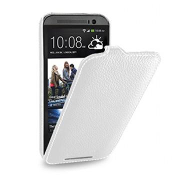 Кожаный чехол книжка вертикальная (нат. кожа) для HTC One 2 белая