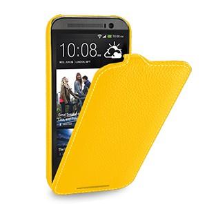 Кожаный чехол книжка вертикальная (нат. кожа) для HTC One 2 желтая