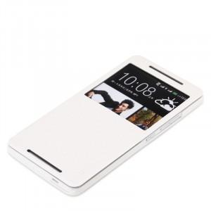 Чехол флип подставка с окном вызова для HTC One Max Белый