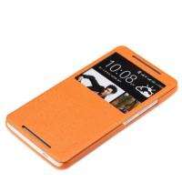 Чехол флип подставка с окном вызова для HTC One Max Оранжевый