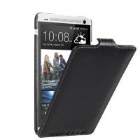 Кожаный чехол книжка вертикальная для HTC One Max Черный