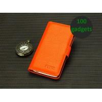 Кожаный чехол портмоне (нат. кожа) для HTC One Max Оранжевый