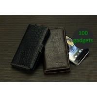 Кожаный чехол портмоне (нат. кожа крокодила) для HTC One Max