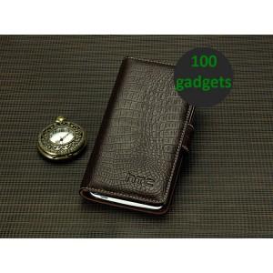 Кожаный чехол портмоне (нат. кожа крокодила) для HTC One Max Коричневый