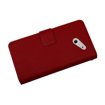 Кожаный чехол книжка горизонтальная для Huawei Ascend D2 Красный