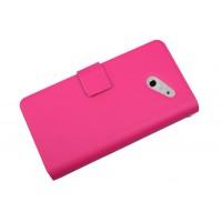 Кожаный чехол книжка горизонтальная для Huawei Ascend D2 Розовый