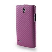 Чехол книжка вертикальная серия Carbon для Huawei Ascend G700 Розовый
