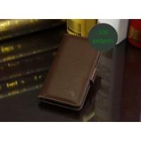 Кожаный чехол портмоне (нат. кожа) для Huawei Ascend G700 Коричневый