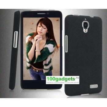 Пластиковый матовый чехол для Alcatel One Touch Idol Черный