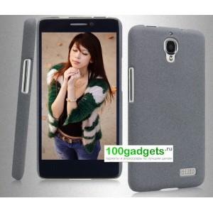Пластиковый матовый чехол для Alcatel One Touch Idol Серый