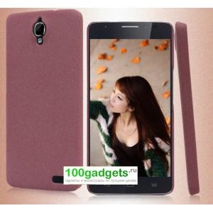 Пластиковый матовый чехол с повышенной шероховатостью для Alcatel One Touch Idol X Пурпурный