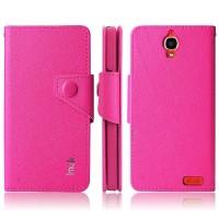 Чехол портмоне для Alcatel One Touch Idol X Розовый