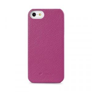 Кожаный чехол накладка Back Cover (нат. кожа) для Iphone 5c фиолетовая