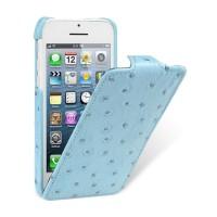 Кожаный чехол книжка вертикальная (нат. кожа эму) для Iphone 5c голубая