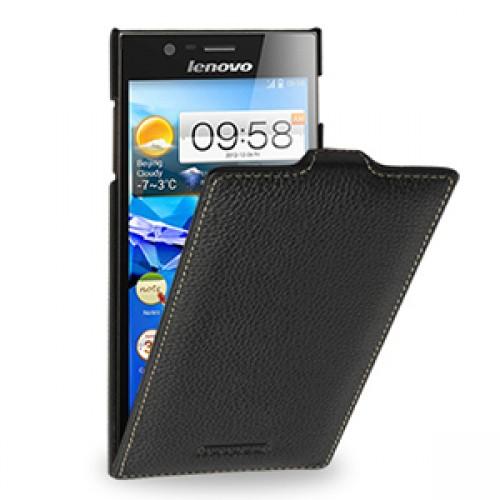 Кожаный чехол книжка вертикальная (нат. кожа) для Lenovo IdeaPhone K900