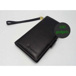 Кожаный чехол портмоне (нат. кожа) для Lenovo IdeaPhone K900 Черный